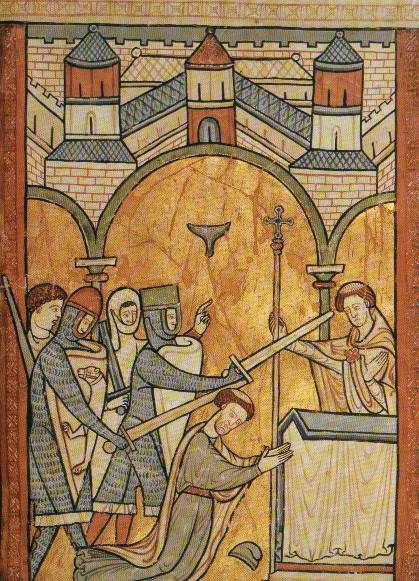 Η δολοφονία του Μπέκετ (αγγλική μικρογραφία του 13ου αι., Βρετανικό Μουσείο, Λονδίνο)